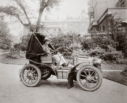 C S Rolls at the wheel of his 15 hp Panhard motor car, 1903.