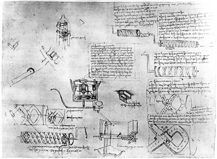 Design for screw-cutting lathe from Leonardo da Vinci's notebooks, c 1500.