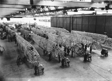 Building Wellington bombers, Vickers factory, West Midlands, late 1930s.