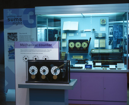 Mechanical counter case from 'Getting Your Sums Right' exhibition, April 2001.
