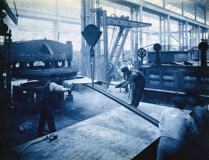 Constructing locomotive boilers, Stratford Works, London, 1912.