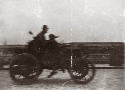 C S Rolls and A Bird finishing the Paris-Boulogne Race, 1899.