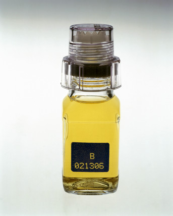 Urine sample in a tamper-proof jar, 2000.