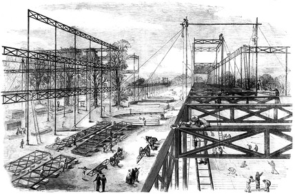 Constructing the Crystal Palace, Hyde Park, London, 1850.
