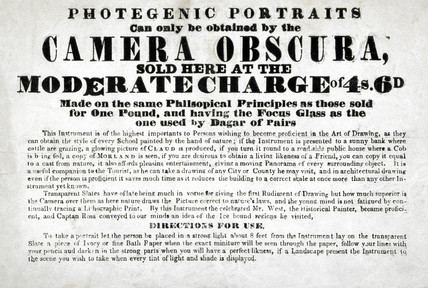 Camera obscura advertisement, c 1819.