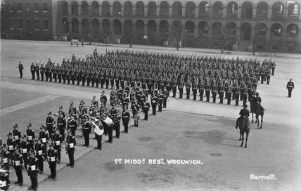 1st Middlesex Regiment on parade, Woolwich, London, 1914-1918.