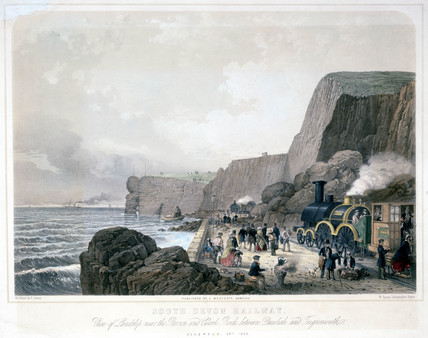 'View of the Landslip near the Parson and Clerk Rock', Devon, 1852.