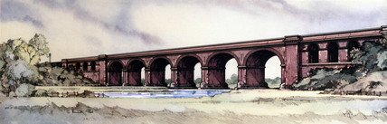 Wolverton Viaduct, BR (LMR) carriage print, early 1950s.