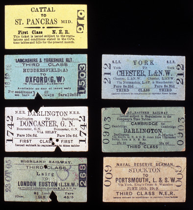Examples of various railway tickets, early 20th century.