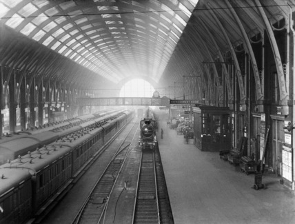 View of trains at King's Cross Station, Lon