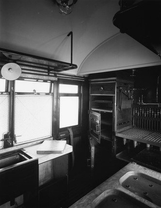 Interior of kitchen carriage, c 1930s.