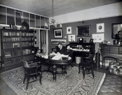 Charles Urban in his private office, c 1915.