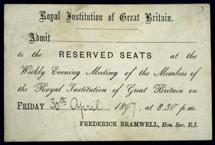 Royal Institution lecture ticket, 30 April