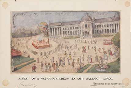 'Ascent of a Montgolfiere, or Hot-Air Balloon', c 1790.