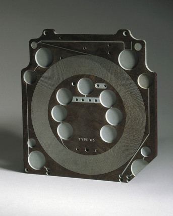 Pasive component plate, type A3, for Sargrove sprayed-circuit radio, 1947.