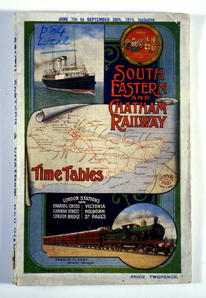 Front cover of South Eastern & Chatham Railway timetable, 1914.