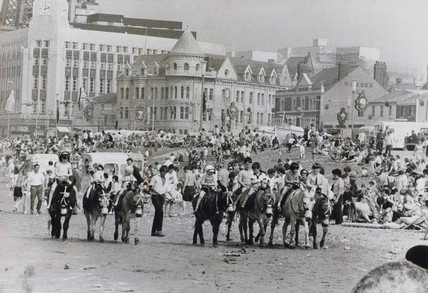 Holidaymakers enjoying themselves on Blackpool beach, April 1972.