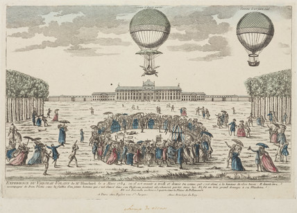 Blanchard's first ascent in a balloon, 2 March 1784.