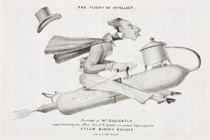 'The Flight of Intellect', Mr Golightly on a Steam Riding Rocket, early 19th century.