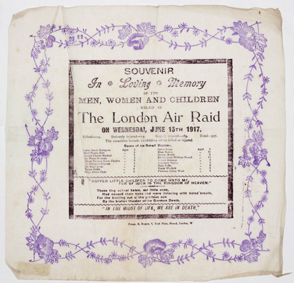 Souvenir commemorating victims of the London Air Raid, 1917.