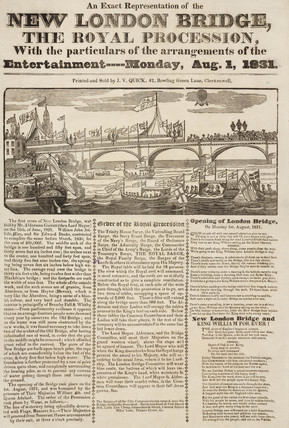 'New London Bridge, The Royal Procesion', 1 August 1831.