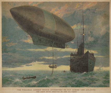 The 'America' airship in the Atlantic, 1911.