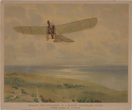 Bleriot monoplane flying from Paris to London, 1910.