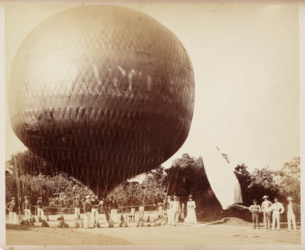 A balloon ready for flight, 1885-1890.