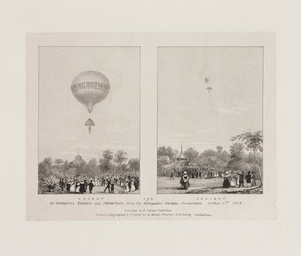 'Ascent and Descent of Mr Hampton's Balloon and Parachute', 3 October 1838.