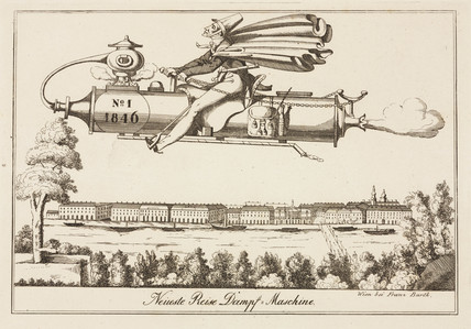 Satire on steam-powered flight, Austria, 1846.