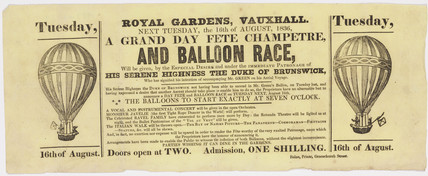 Broadsheet advertising a balloon ascent by Green, 16 August 1836.
