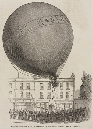 'Accident to the Nasau Balloon in the London Road, on Wednesday', c 1840s.