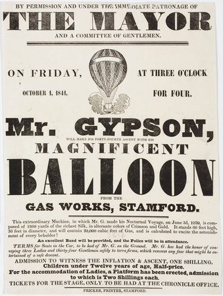 Handbill advertising Gypson's balloon ascent, 1 October 1841.