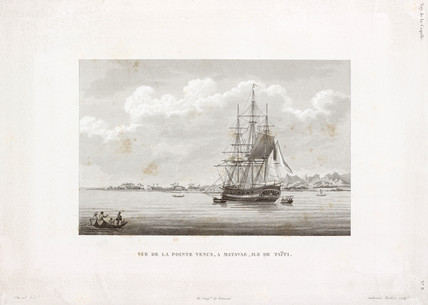 The 'Coquille' at Pointe Venus, island of Tahiti, 1822-1825.