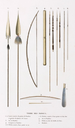 Spears, bows and arrows from 'the Land of the Papuans', 1822-1825.