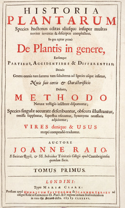 Title page from 'The History of Plants' by John Ray, 1686.