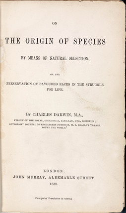 Title page from Darwin's 'The Origin of Species', 1859.