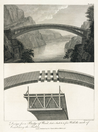 Design for a wooden bridge, 1796.
