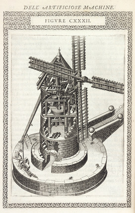 Windmill for grinding grain, 1588.