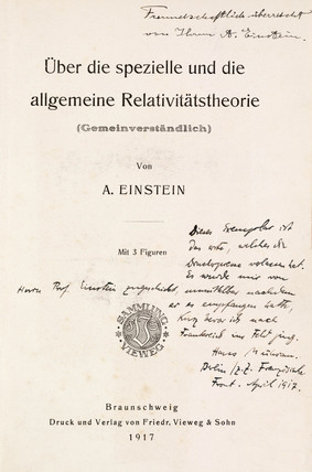 Signed title page to Einstein's work on relativity theory, 1917.