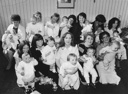 Mothers with their 'test tube' babies, April 1986.