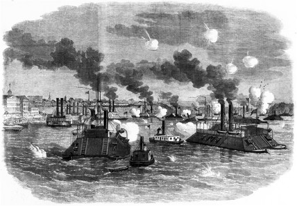 Destruction of the Confederate flotilla, USA, 1862.