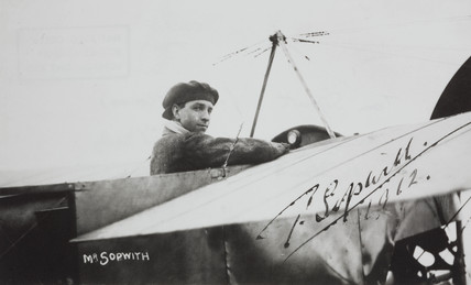 Tom Sopwith after winning first 'aerial Derby' in a Bleriot monoplane, 1912.