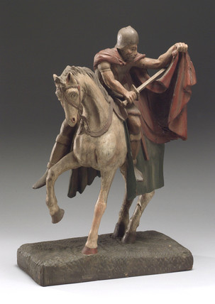 Wooden figure of Saint Martin of Tours, posibly French, 1701-1800.