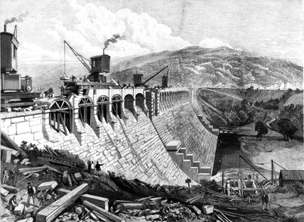 Dam at Vyrnwy, North Wales, 1889.
