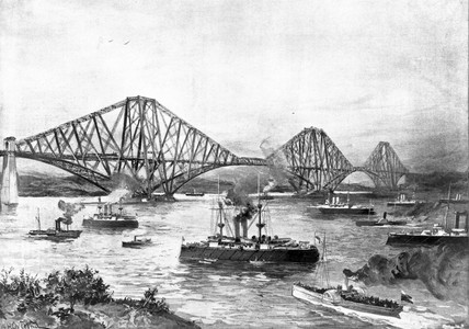 Forth Bridge and the Channel Squadron, 1895.