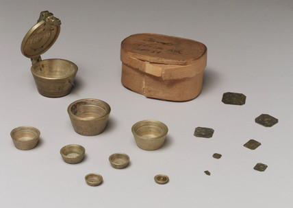 Set of bras weights from Alicante, Spain, 1815-1818.