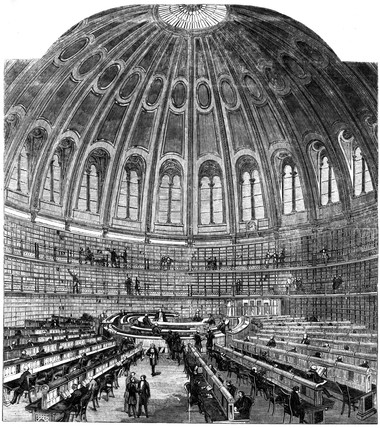Interior of the reading room at the British Museum, London, 1857.