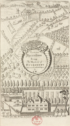 Frontispiece to a book on agriculture, 1687.