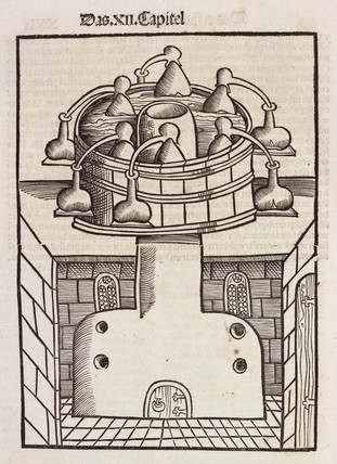 Distillation furnace with water bath, 1512.
